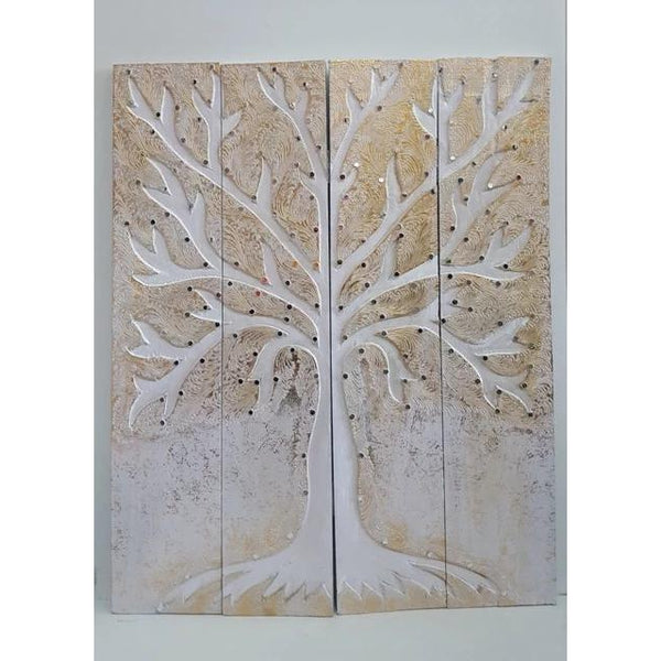 Tree of life wall art 4 panel-White - WORLD OF DECOR