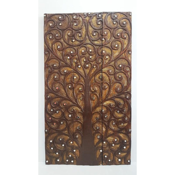 Tree of life wall art 3 panel-Gold Brown