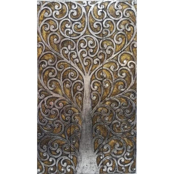 Tree of life wall art 3 panel-Gold Silver