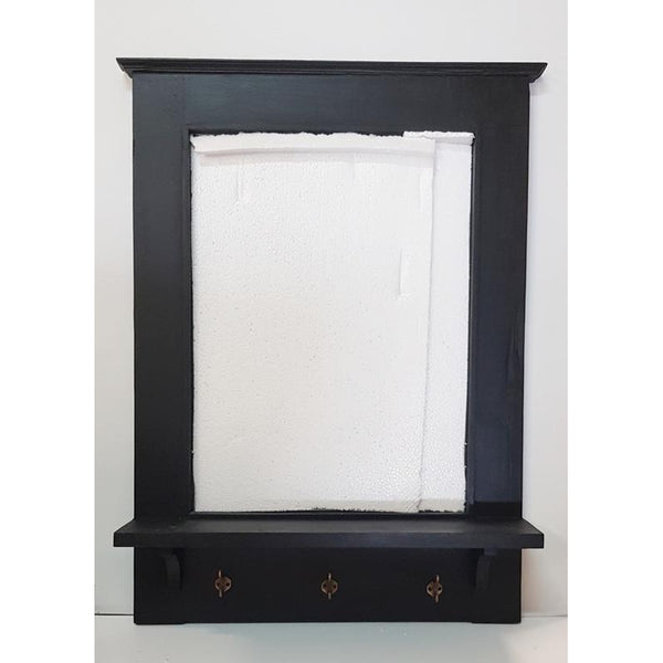 Wooden Mirror with shelve-Black - WORLD OF DECOR