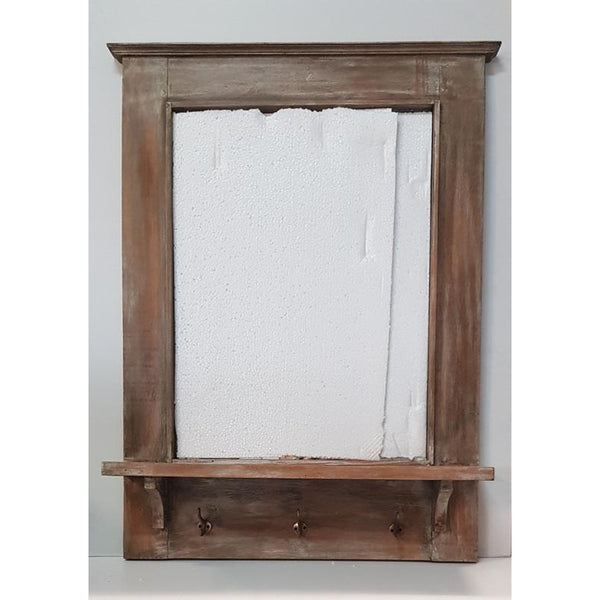Wooden Mirror with shelve-wash - WORLD OF DECOR