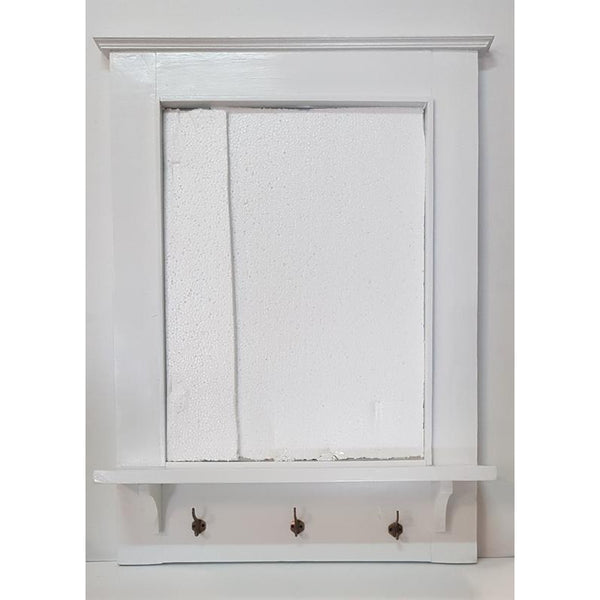 Wooden Mirror with shelve-white - WORLD OF DECOR