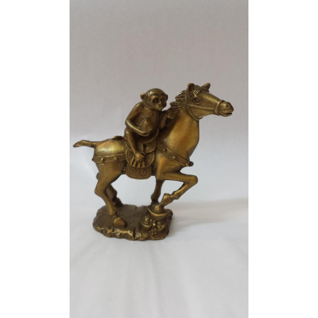 MONKEY W PEACH ATOP HORSE - WORLD OF DECOR