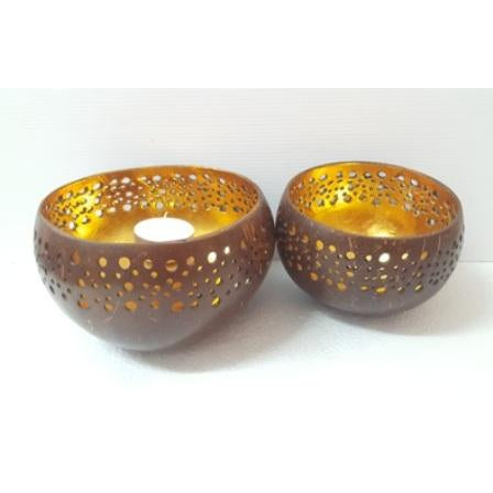 GOLD COCONUT BOWL CANDLE HOLDER - WORLD OF DECOR