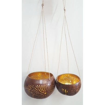 GOLD HANGING COCONUT BOWL CANDLE HOLDER - WORLD OF DECOR