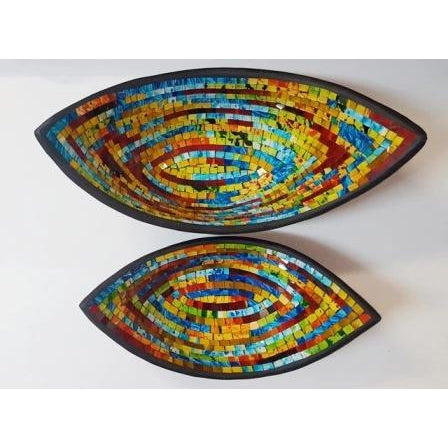 Abstract mosaic boat bowls -2 size to choose - WORLD OF DECOR
