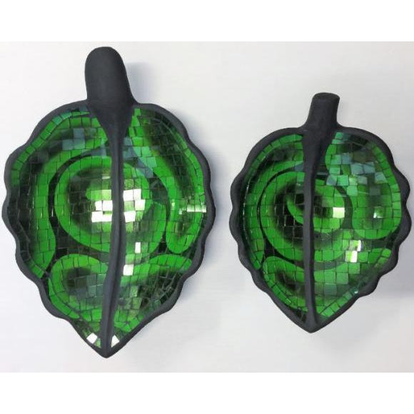 MOSAIC LEAF SHAPED BOWLS GREEN - WORLD OF DECOR
