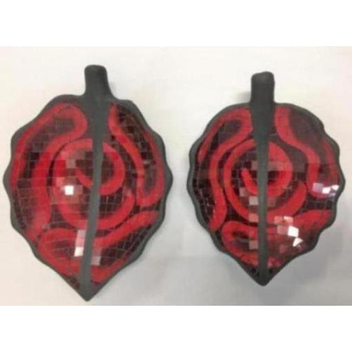 MOSAIC LEAF SHAPED BOWLS RED - WORLD OF DECOR