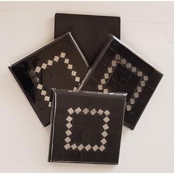 Black Mosaic Coasters Set of 4 - WORLD OF DECOR
