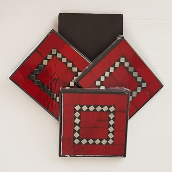 Red Mosaic Coasters Set of 4 - WORLD OF DECOR