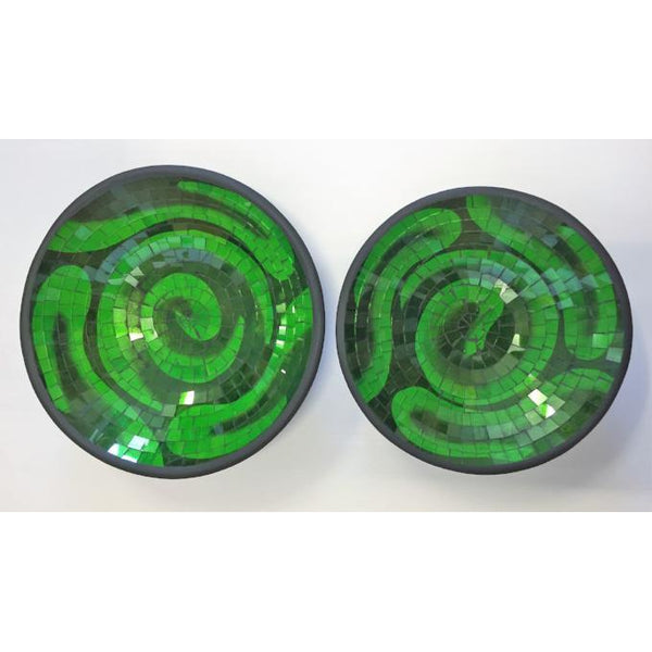 SPANIAS MOSAIC BOWLS GREEN - WORLD OF DECOR