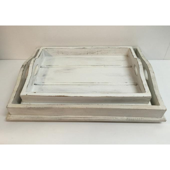 RUSTIC WOODEN WHITE WASH TRAYS, 2 SIZES - WORLD OF DECOR
