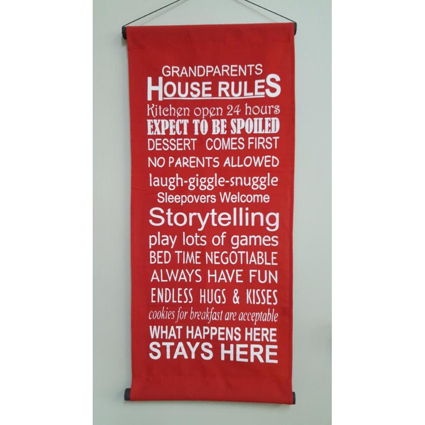GRAND PARENTS RULES-HANGING AFFIRMATION - WORLD OF DECOR
