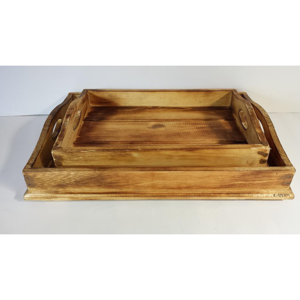 RUSTIC WOODEN TRAYS WITH HANDLES - WORLD OF DECOR