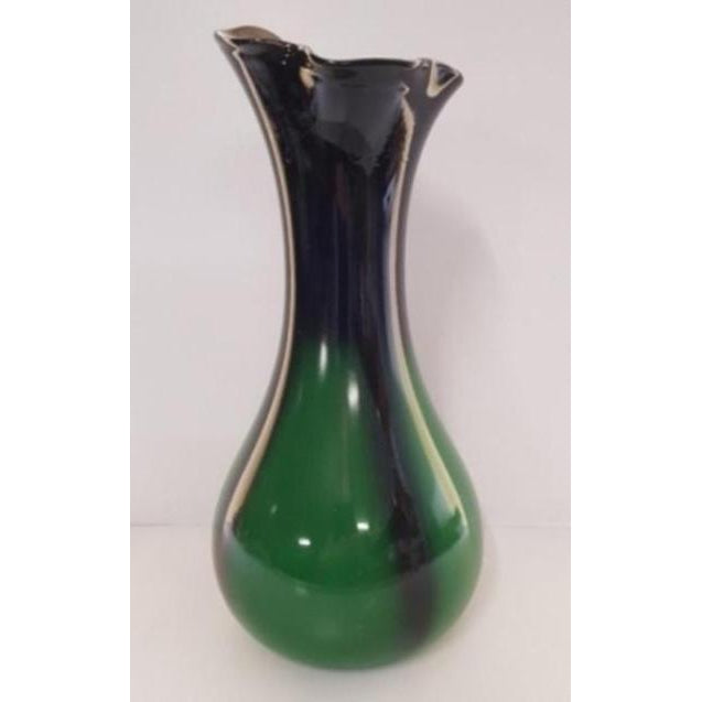 RECYCLED GLASS VASE GREEN/BLACK - WORLD OF DECOR