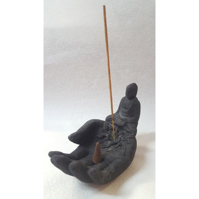 STONE HAND INCENSE HOLDER WITH BUDDHA - WORLD OF DECOR