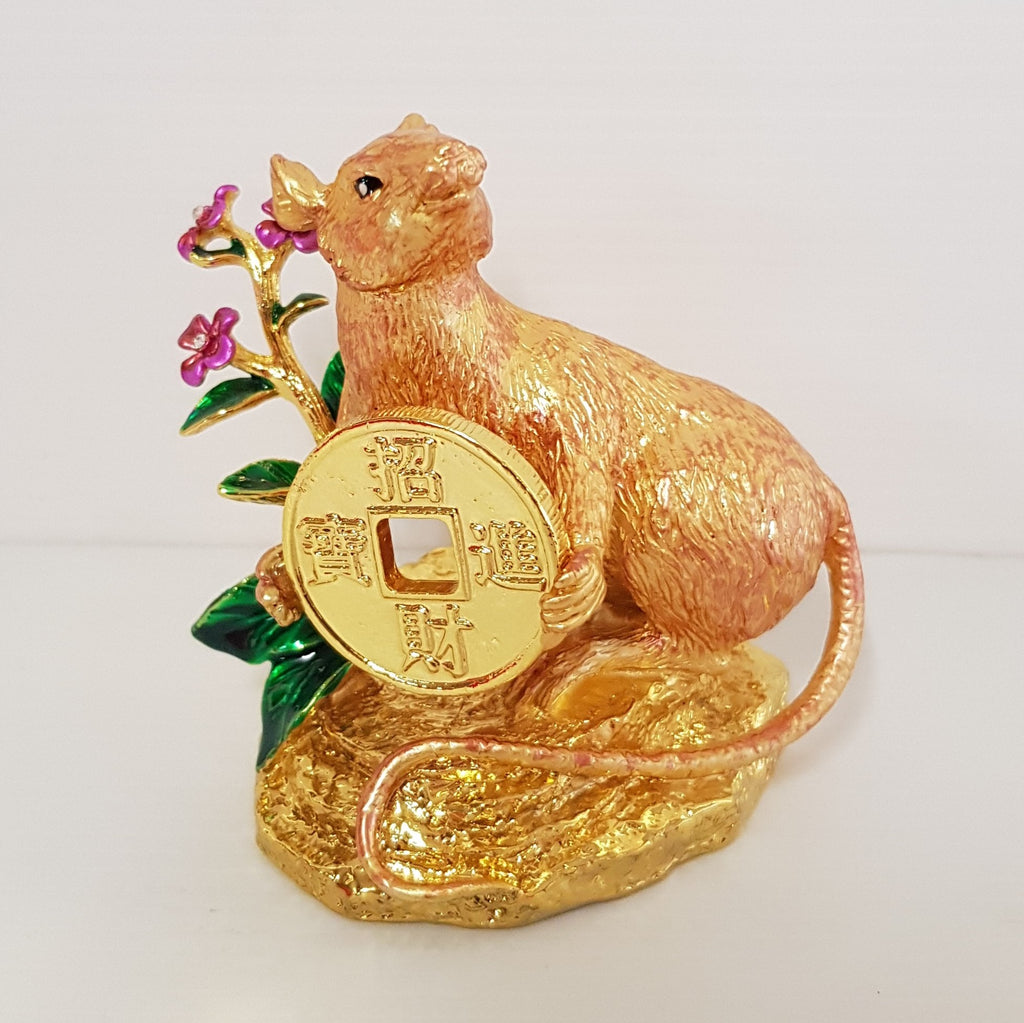 Golden lucky Rat holding coin with your wealth have arrived - WORLD OF DECOR