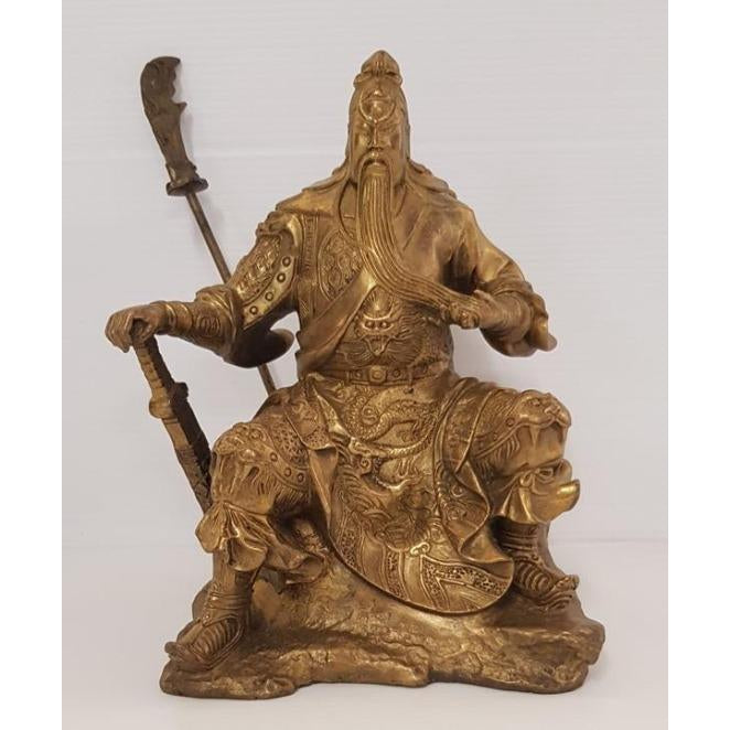Guan Gong/Kwan Kong w dragon sword-Brass - WORLD OF DECOR