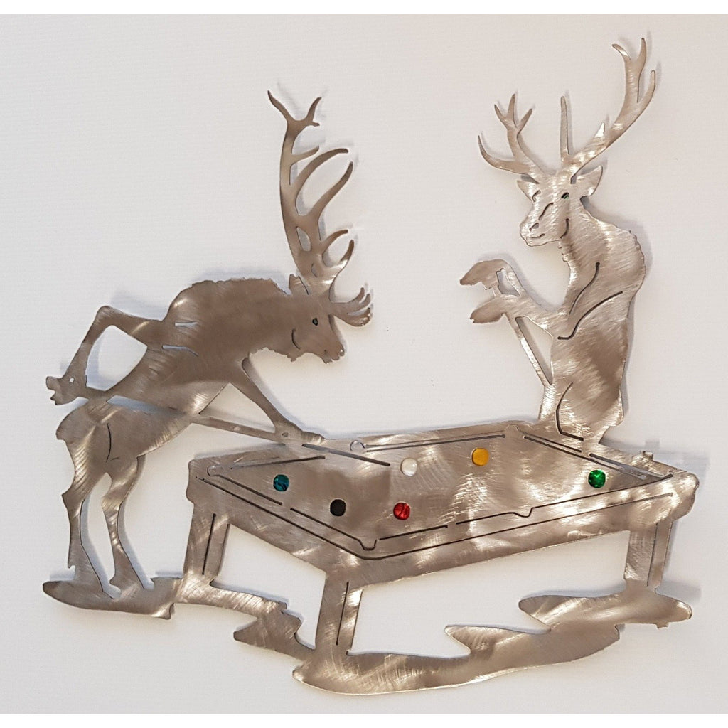 Stags playing pool Wall Art, NZ Made. - WORLD OF DECOR