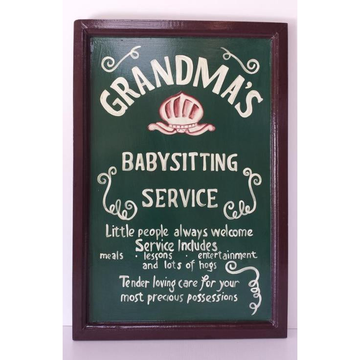GRANDMA'S BABYSITTING SERVICE PLAQUE - WORLD OF DECOR