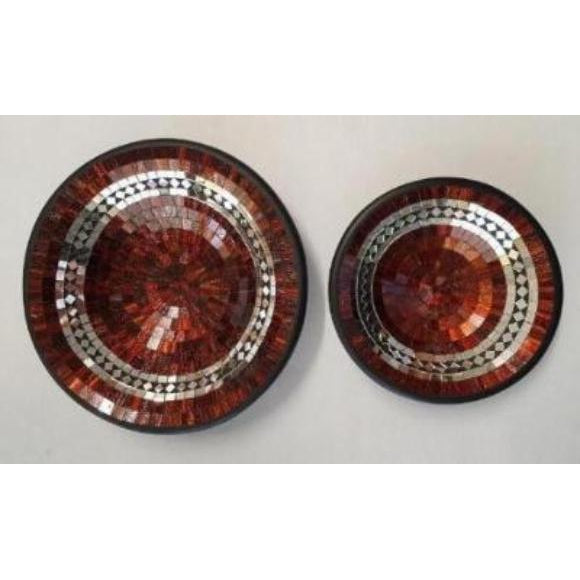 MOSAIC COPPER COLOUR MIRROR INLAY BOWLS - WORLD OF DECOR
