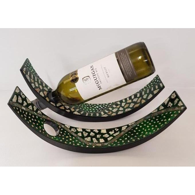 UNIQUE LACQUERED WINE BOTTLE HOLDER 2 COLOUR CHOICES - WORLD OF DECOR