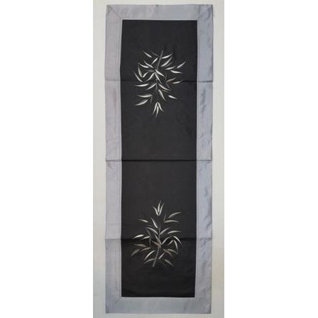 Fabric & silk table runner-Black & silver combo - WORLD OF DECOR