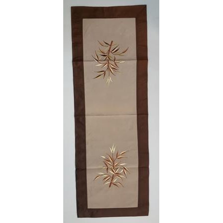 Fabric & silk table runner-Brown & Cream combo - WORLD OF DECOR