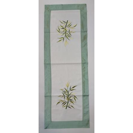 Fabric & silk table runner-Green & White combo - WORLD OF DECOR