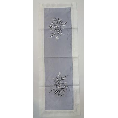 Fabric & silk table runner-GREY & WHITE COMBO - WORLD OF DECOR