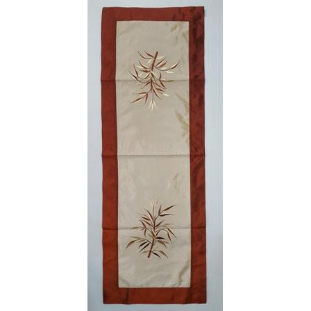 Fabric & silk table runner- LIGHT BROWN & GOLD COMBO - WORLD OF DECOR