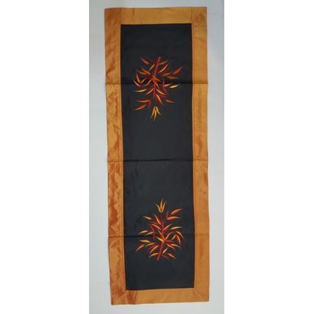 Fabric & silk table runner- O,RANGE & BLACK COMBO - WORLD OF DECOR