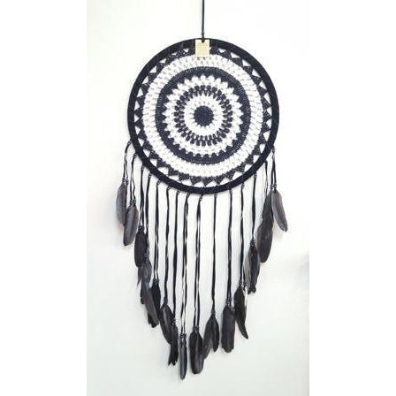 BLACK & WHITE CROCHET DREAMCATCHER 40CM - WORLD OF DECOR