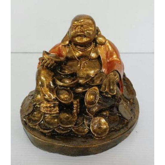RESIN BUDDHA SITTING ON COINS - WORLD OF DECOR