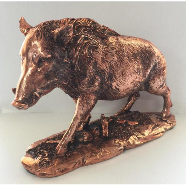 POLY RESIN WILD BOAR COPPER ELECTROPLATED - WORLD OF DECOR