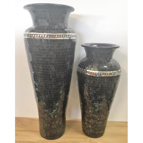 STUNNING BLACK MOSAIC FLOOR STANDING VASE WITH MIRROR INLAY 6 COLOURS AVAILABLE.WHY PAY OVER $300.00, LOOK NO FURTHER - WORLD OF DECOR