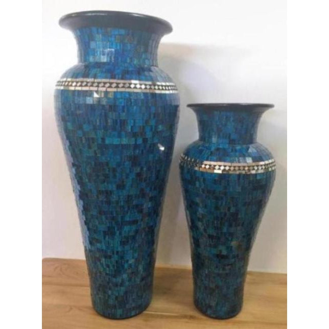 STUNNIING BLUE MOSAIC FLOOR STANDING VASE WITH MIRROR INLAY 8 COLOURS AVAILABLE.WHY PAY OVER $300.00, LOOK NO FURTHER. - WORLD OF DECOR