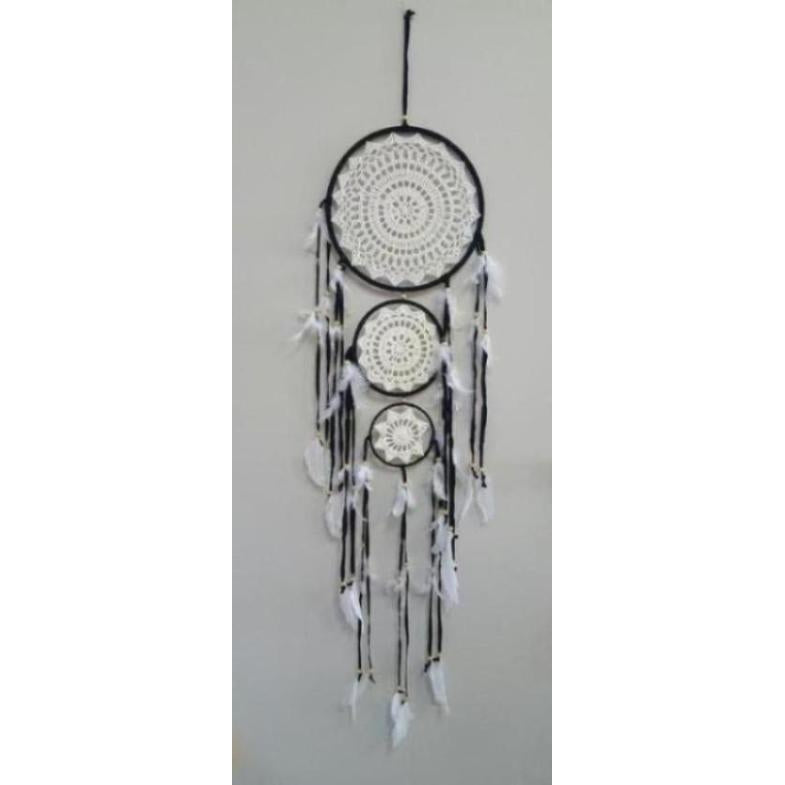CROCHETED BLACK DREAMCATCHER 3 TIER - WORLD OF DECOR