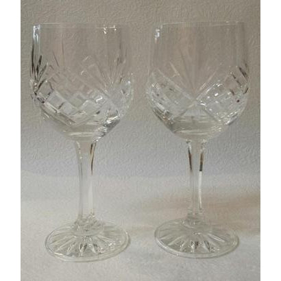 Cut crystal wine glass set of 2 - WORLD OF DECOR