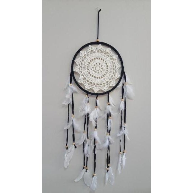 CROCHETED BLACK DREAMCATCHER 22CM - WORLD OF DECOR