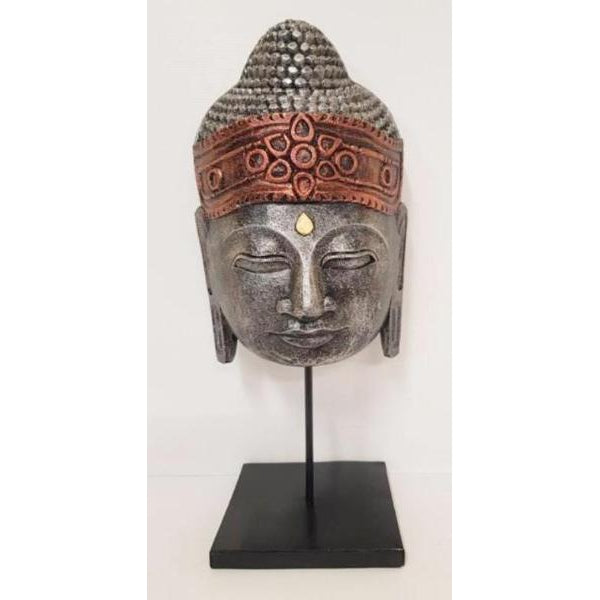 Carved Buddha head on a metal stand - WORLD OF DECOR