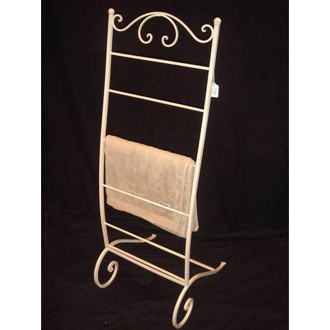 Cream metal towel or magazine rack-small - WORLD OF DECOR