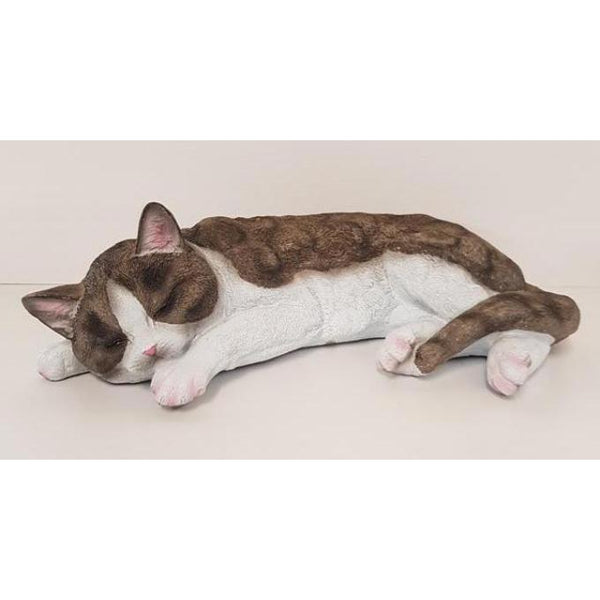 LIFE LIKE POLY RESIN LYING CAT - WORLD OF DECOR