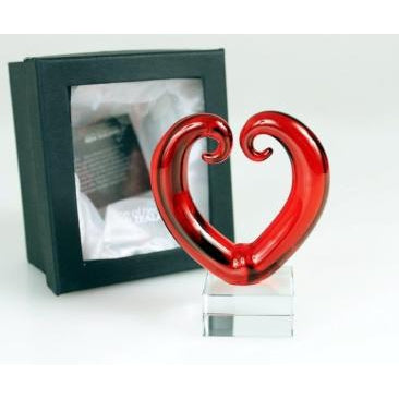 GLASS LOVE HEART DECO - RED - WORLD OF DECOR