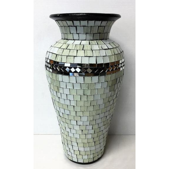 Mosaic mirrored inlay vase-WHITE - WORLD OF DECOR