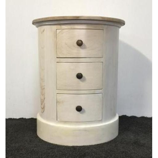 Cylinder 3 draw side table 2 tone - WORLD OF DECOR