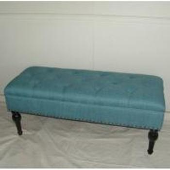 HINGED STORAGE BENCH SEAT-BLUE - WORLD OF DECOR
