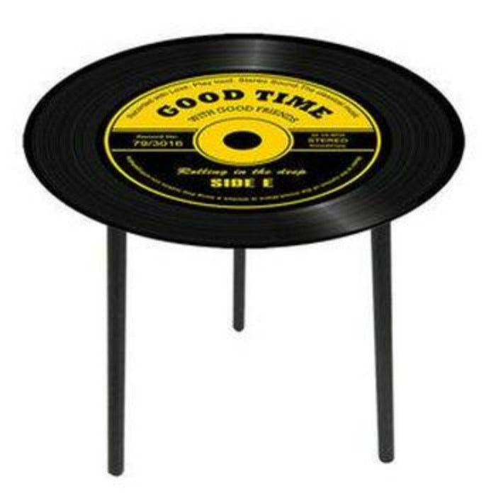 Glass top side table- Record - WORLD OF DECOR