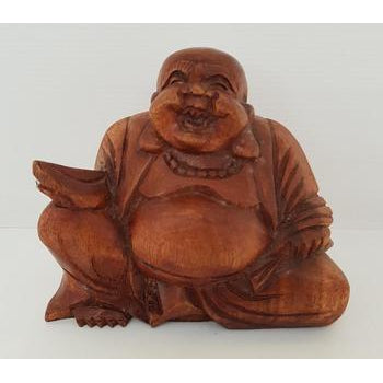 HAND CARVED HAPPY BUDDHA - WORLD OF DECOR