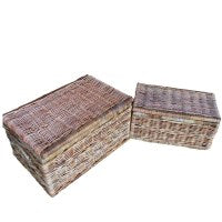 Cane lidded chest set of 2-Natural colour - WORLD OF DECOR